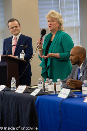 Lynne Fugate, At Large Seat A Candidate, League of Women Voters, City Council Candidate Debates, News Sentinel Building, Knoxville, July 2018